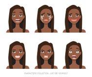 Grupo de emoções e de gestos à mulher nova do americano do africano negro Fotos de Stock
