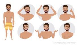 Grupo de emoções e de gestos ao homem novo Foto de Stock Royalty Free
