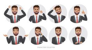 Grupo de emoções e de poses para o homem de negócio O retrato do homem em um estilo dos desenhos animados experimenta emoções dif Imagens de Stock
