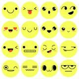 Grupo de 16 emoções isolado no fundo branco Illustra do vetor Imagens de Stock