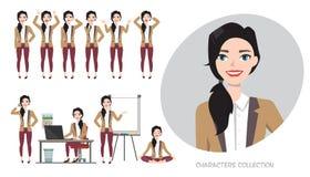 Grupo de emoções para a mulher de negócio Imagem de Stock Royalty Free