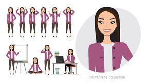 Grupo de emoções para a mulher de negócio asiática Imagem de Stock