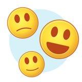 Grupo de emoji no fundo azul e branco Imagem de Stock