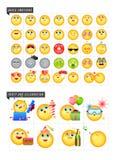 Grupo de 42 emoticons ilustração stock