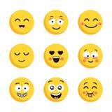 Grupo de emoticons amarelos felizes Caras lisas dos desenhos animados engraçados isoladas no fundo branco ilustração do vetor