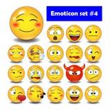 Grupo de emoticons bonitos do smiley Fotografia de Stock