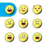Grupo de emoticons retros do emoji Foto de Stock