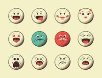 Grupo de emoticons retros do emoji Imagem de Stock Royalty Free