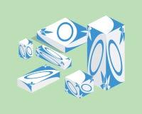 Grupo de empacotamento da medicina Isometry ilustração stock