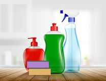 Grupo de empacotamento plástico com o detergente para limpar Imagens de Stock Royalty Free