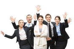 Grupo de encargados felices Imagen de archivo libre de regalías