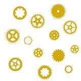 Grupo de engrenagens douradas com sombra em um fundo branco, isolado, vetor ilustração do vetor