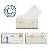 Grupo de envelopes de Londres com pintado a torre e o carimbo postal de Elizabeth stylization ilustração stock