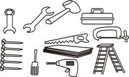 Grupo de equipamento da carpintaria Ilustração do vetor Fotos de Stock Royalty Free