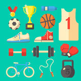 Grupo de equipamento de esporte Fotografia de Stock Royalty Free
