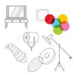 Grupo de equipamento do estúdio da foto dos ícones Ilustração Stock
