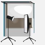 Grupo de equipamento do estúdio da foto, fundo de papel da foto, ícones lisos macios claros, flash, refletor, softbox Imagens de Stock Royalty Free