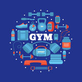 Grupo de equipamento do gym Foto de Stock