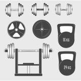 Grupo de equipamento do gym do vintage, de citações e de elementos do projeto Fotografia de Stock
