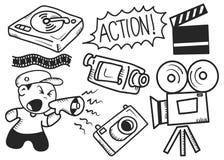 Doodle do industria do cinema ilustração stock
