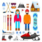 Grupo de equipamento do inverno Imagens de Stock Royalty Free