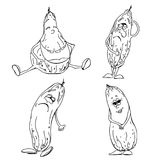 Grupo de esboço do pepino ilustração stock