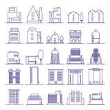Grupo de esboço futurista moderno dos ícones da construção Construções e casas na linha minimalista ícone ilustração stock