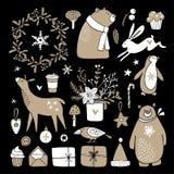 Grupo de esboços bonitos da garatuja Clipart do Natal do urso, coelho, rena, caixas de presente, pinguim, flores do inverno e Foto de Stock Royalty Free