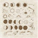 Grupo de esboços da astronomia ilustração stock