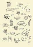 Grupo de esbo?o do utens?lio da cozinha da garatuja no preto isolado sobre o fundo branco imagens de stock royalty free