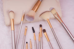 Grupo de escova da composição no fundo branco da pele Imagens de Stock
