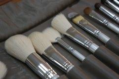 Grupo de escova da ferramenta da composição, vista superior, conceito dos cosméticos imagem de stock