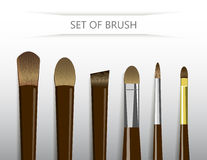 Grupo de escova de pintura para a pintura a óleo no fundo branco Fotografia de Stock Royalty Free