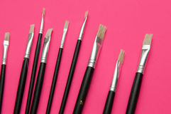 Grupo de escovas de pintura dos artistas Foto de Stock Royalty Free