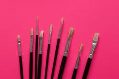 Grupo de escovas de pintura dos artistas Imagem de Stock
