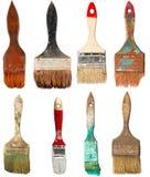 Grupo de escovas de pintura velhas. Isolado Fotografia de Stock Royalty Free