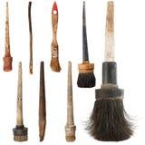 Grupo de escovas de pintura velhas. Isolado Fotos de Stock