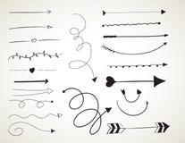 Grupo de escovas de tinta preta da arte ilustração royalty free