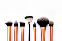 Grupo de escovas do cosmético no fundo branco Foto de Stock Royalty Free