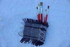 Grupo de escovas para pintar em um lenço de lã fotos de stock royalty free