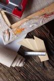 Grupo de escovas para pintar, lona, grampeador, grampos, subframe Imagens de Stock Royalty Free
