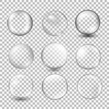 Grupo de esfera de vidro transparente com brilhos e destaques ilustração stock