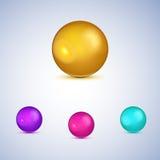 Grupo de esferas lustrosas coloridas no branco. ilustração stock