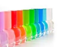 Grupo de esmaltes de uñas brillantes Fotografía de archivo