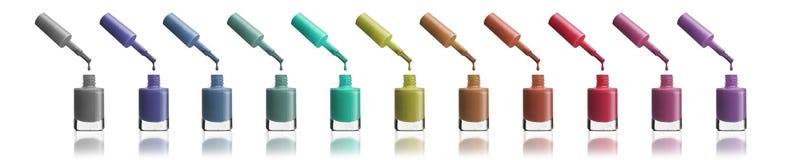 Grupo de esmaltes de uñas brillantes del color que gotean del cepillo en stock de ilustración