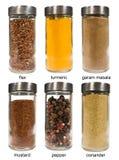 Grupo de especiarias nos frascos de vidro Imagem de Stock