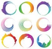 Grupo de espiral redonda colorida abstrata com espaço livre. Fotografia de Stock