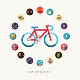 Grupo de esporte, de aptidão e de saudável lisos do projeto ilustração stock