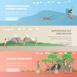 Grupo de esportes de água, bandeiras horizontais do vetor do conceito da atividade exterior ilustração stock