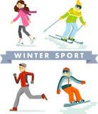 Grupo de esportes e de atividades de inverno no estilo liso ilustração do vetor